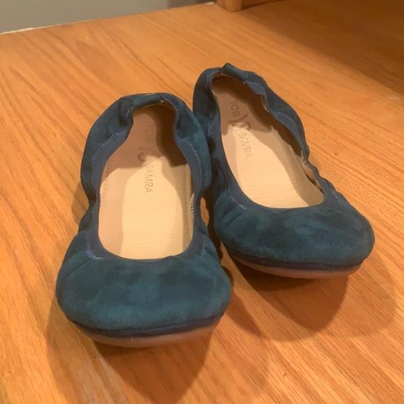 Yosi Samra YS suede Teal blue Portable Ballet Flat
